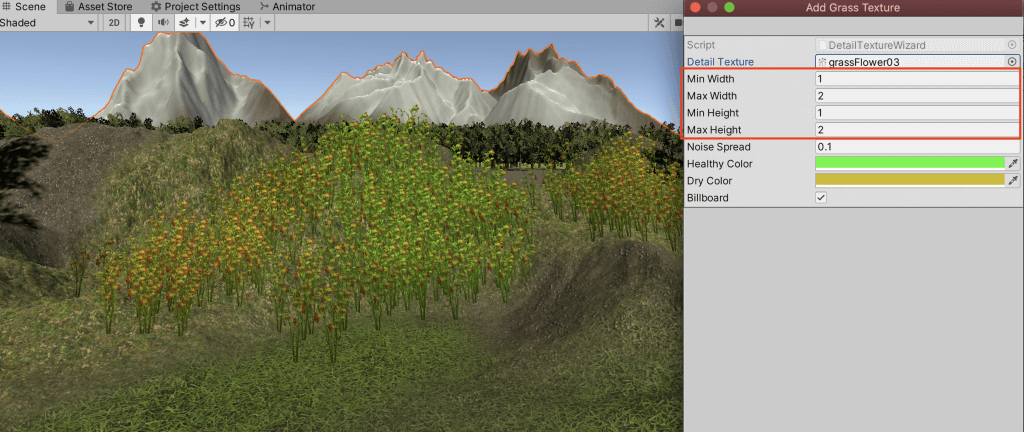 Setting the height and width of the grass