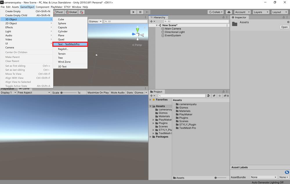 画面上部のタブからGameObjectをクリックし、3D Object→Text - TextMeshProを選択