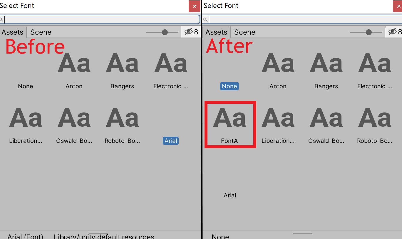 フォント選択時に追加したフォントが表示される