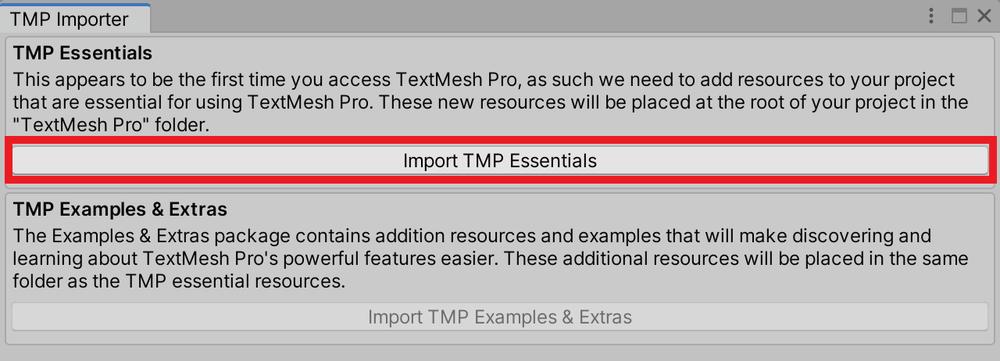 「Import TMP Essentials」をクリック