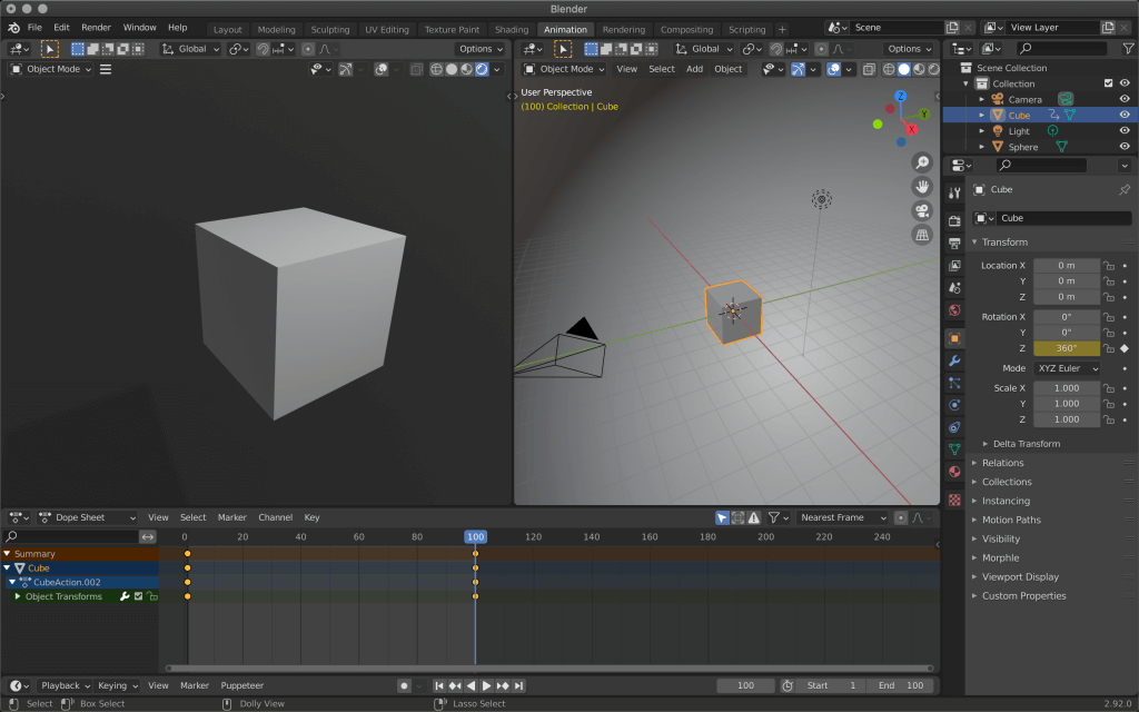 Keyframes are now added to the first and 100th frames respectively.