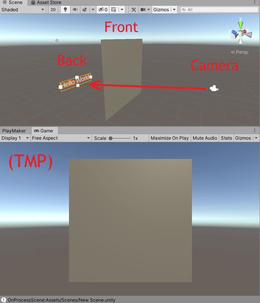 カメラから見てPlaneが手前に、3D Text(TMP)が奥に位置していて、カメラの映像でも3D Text(TMP)はPlaneの後ろに隠れています