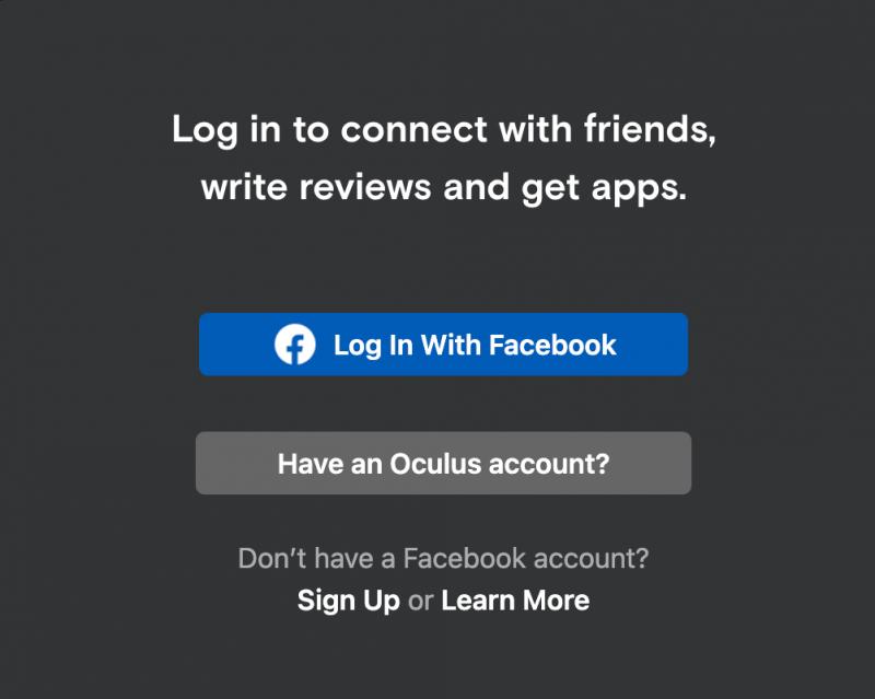 Log in Oculus