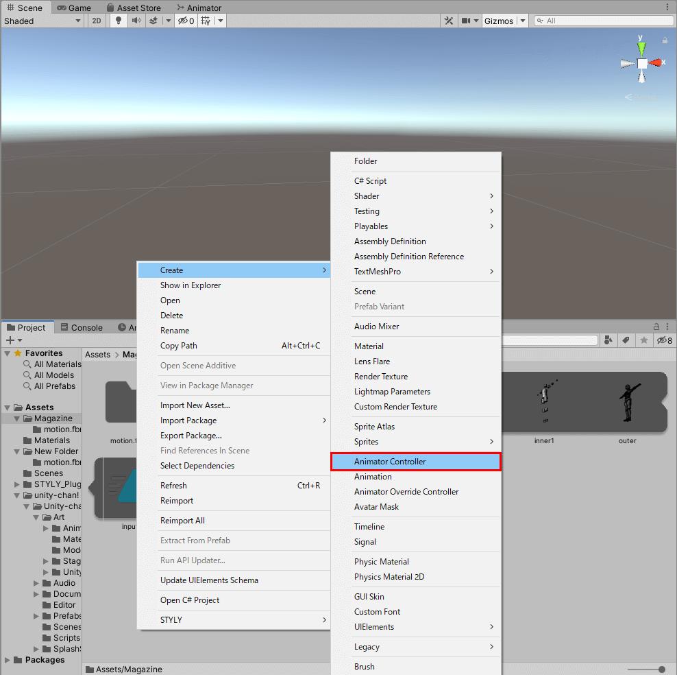 Animator Controllerを選択