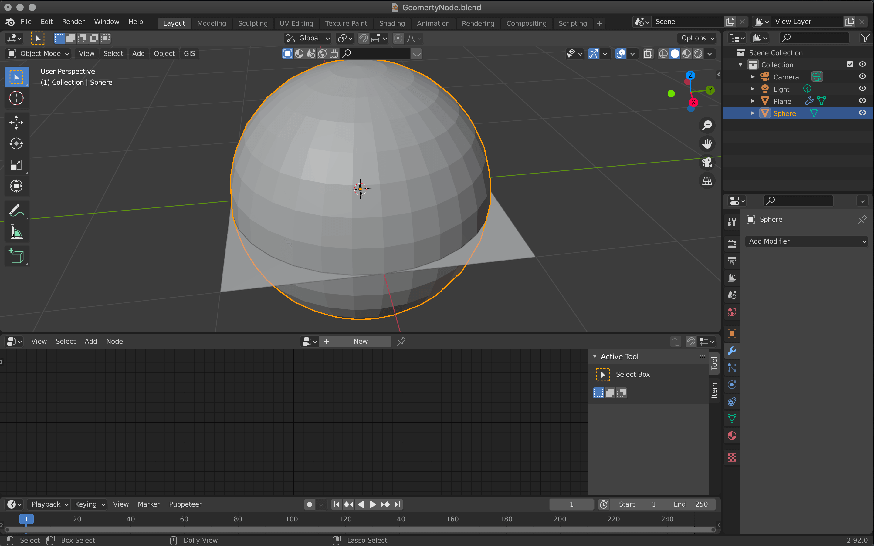 Switch to object mode by pressing [Tab], then [Shift+A]→Sphere.