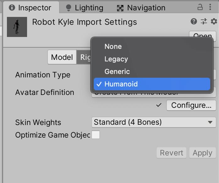 Change Rig to Humanoid