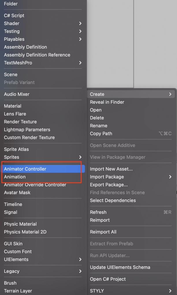 Create the animator and animation