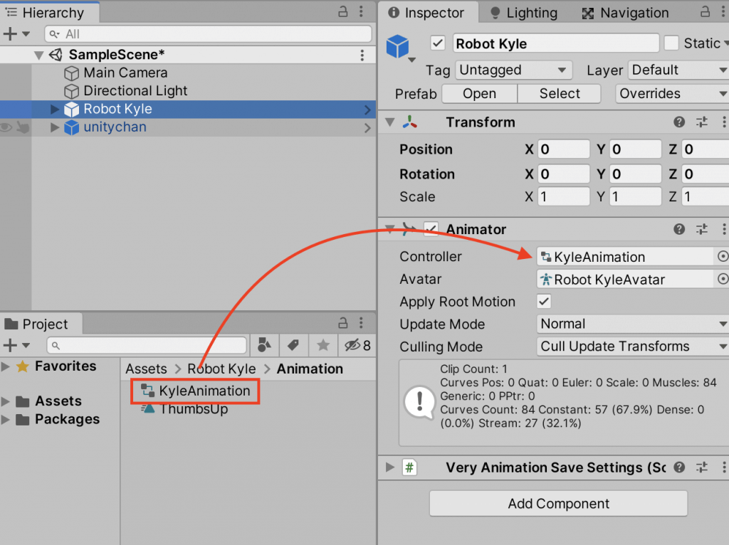 Setting up an animator on a model