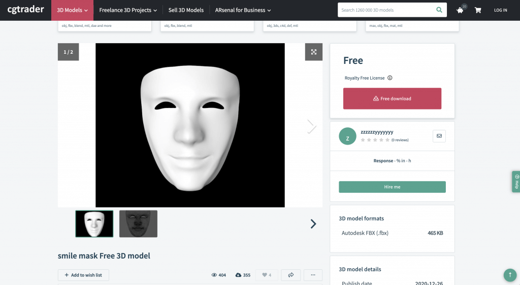 smile mask Free 3D model