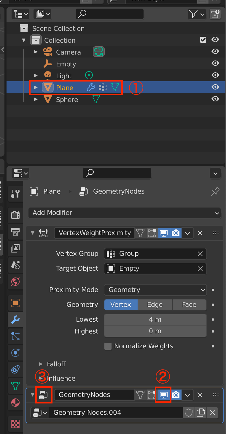 Select Plane -> Redisplay Sphere -> Redisplay Node and Edit