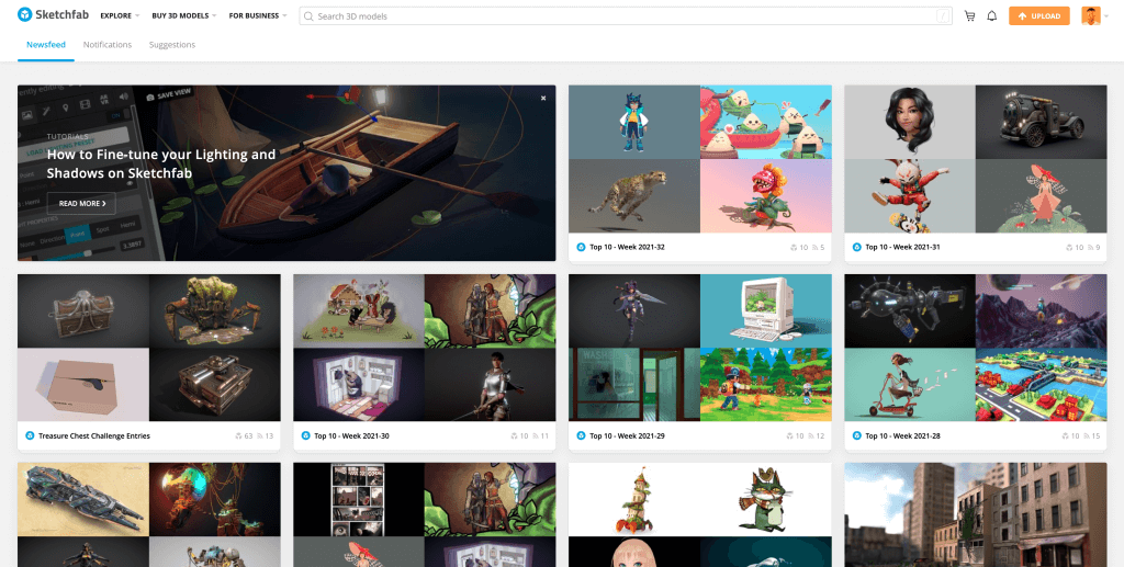 Sketchfab. there are a lot of models.