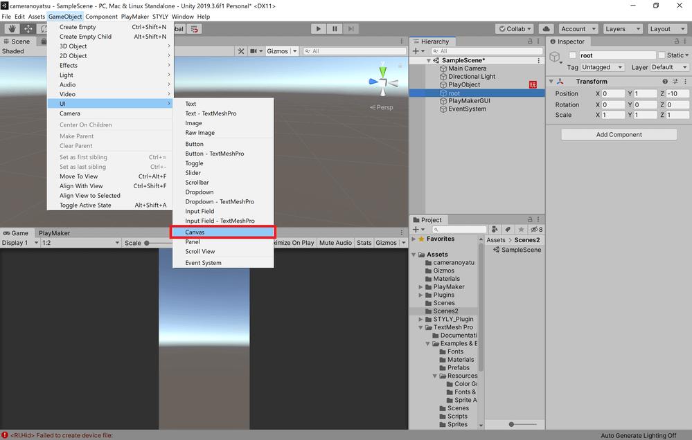 UI→Canvasを選択