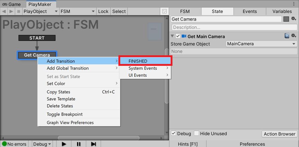 Add Transition→FINISHEDをクリック