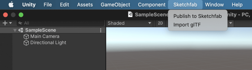 """A tab named """"Sketchfab"""" has been added to the bar."""