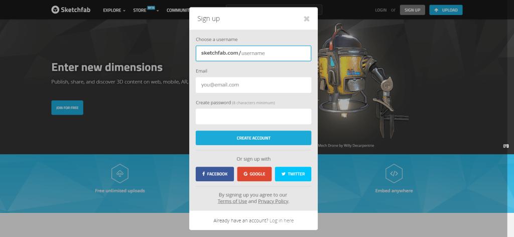 Sketchfab account registration screen