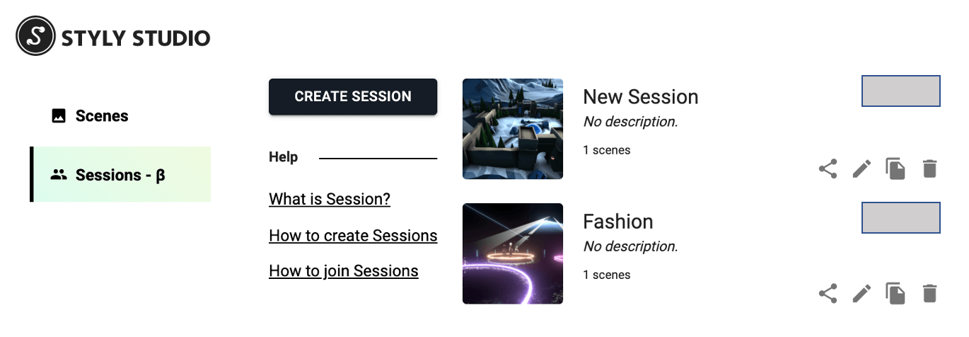 Session management screen