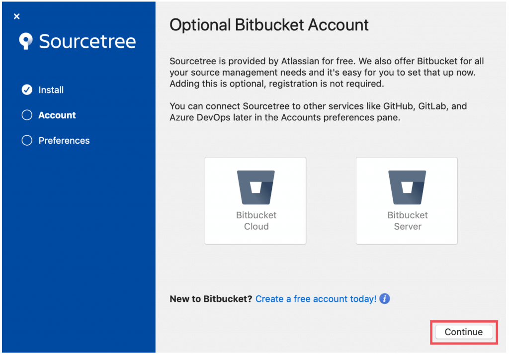 """Select """"Continue"""" at the bottom right."""