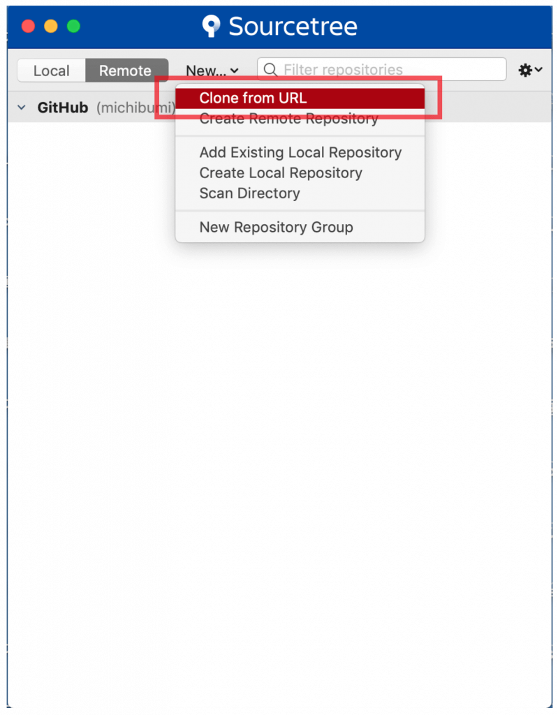 """The first screen of the source tree application. Select """"Clone from URL""""."""